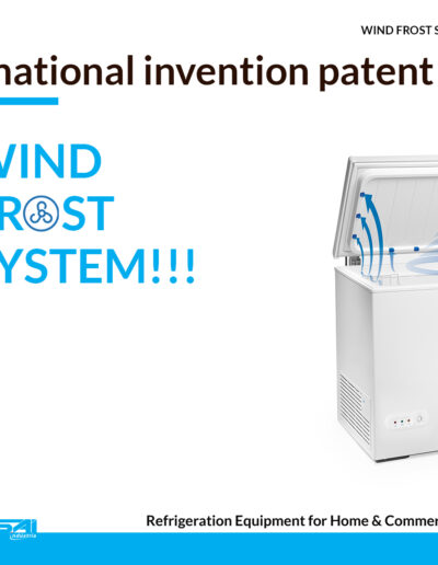 EN TENSAI WIND FROST SYSTEM national inventio patent chest freezer white background