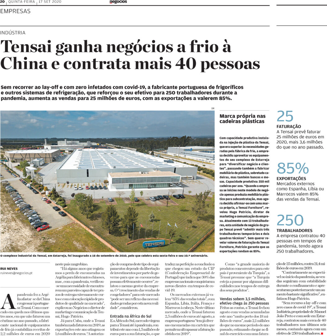 """""""Tensai conquers cold equipment deals that belonged to China and hires 40 new employees! in JORNAL DE NEGÓCIOS"""